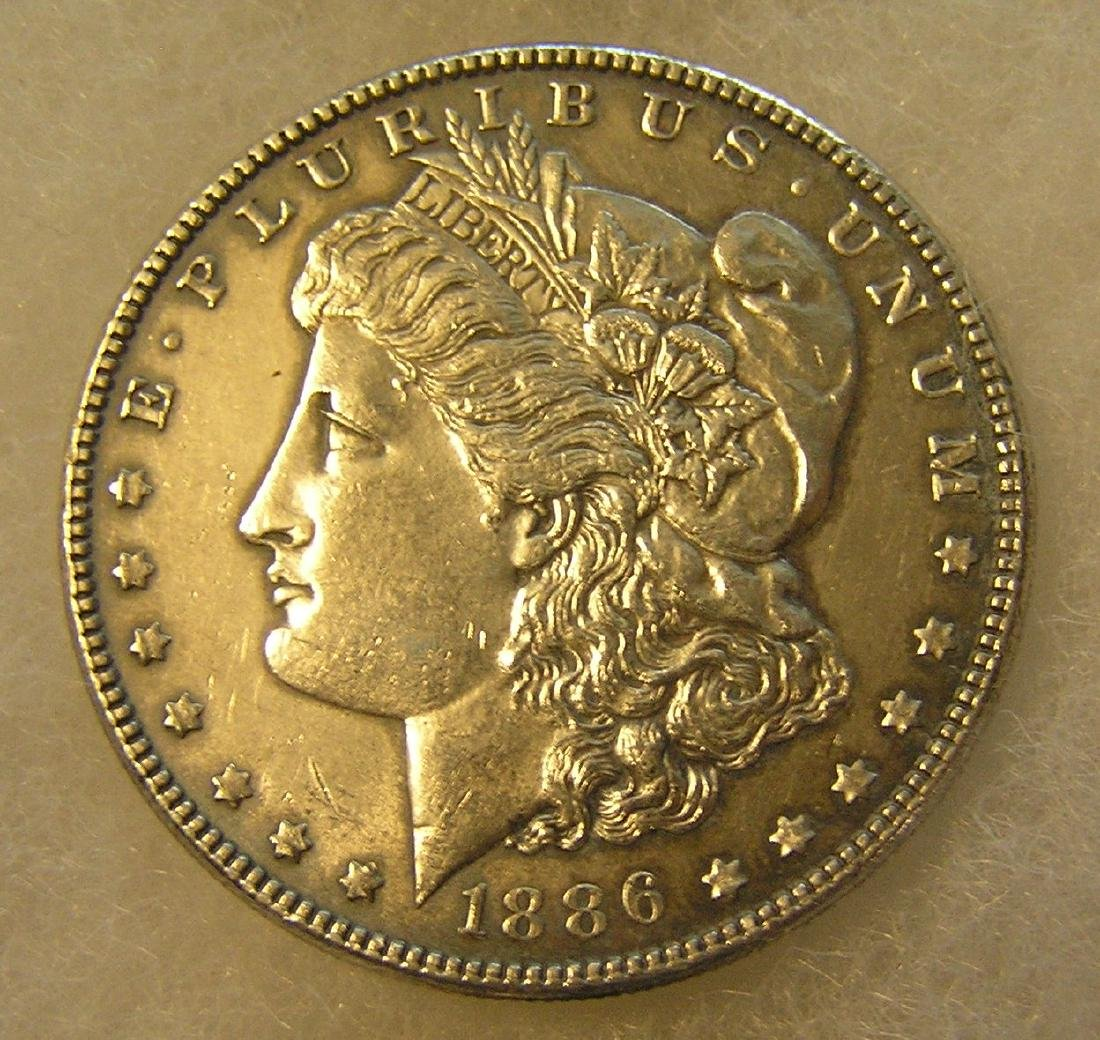 1886 Morgan silver dollar in fine condition