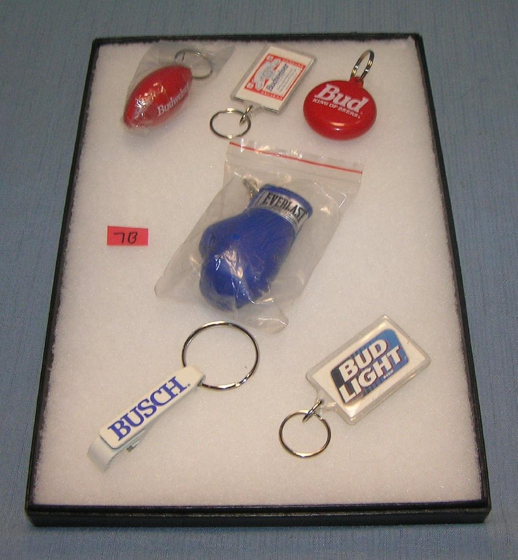 Collection of vintage beer promotional key chains