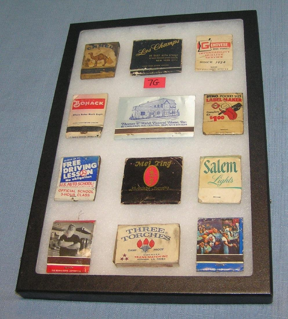 Group of vintage matchbooks with advertising