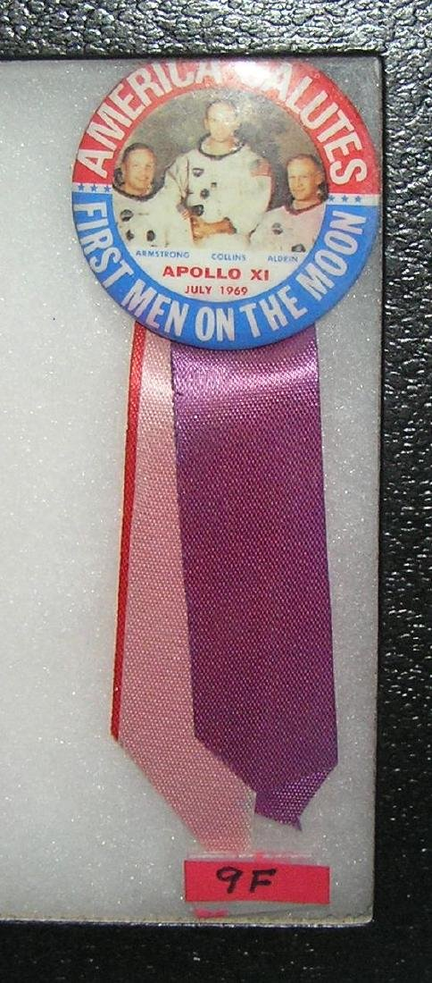 Apollo 11 July 1969 pin back button with ribbon