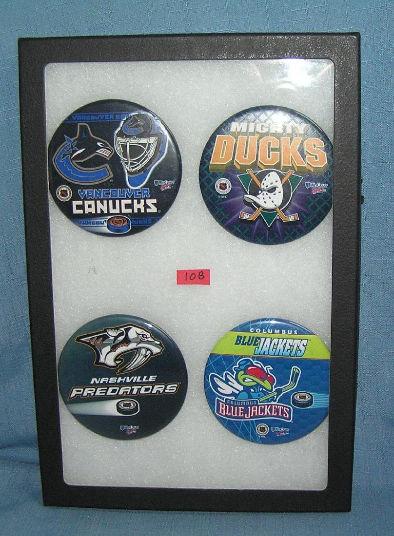 Group of vintage NHL hockey pin back buttons