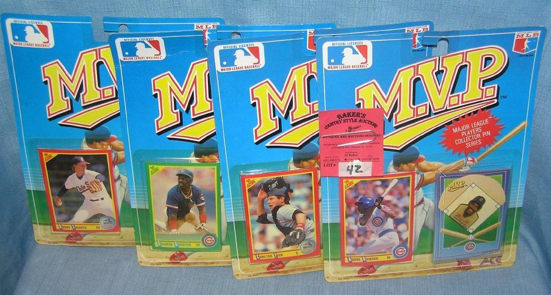 Group of MVP All Star pins and baseball card sets