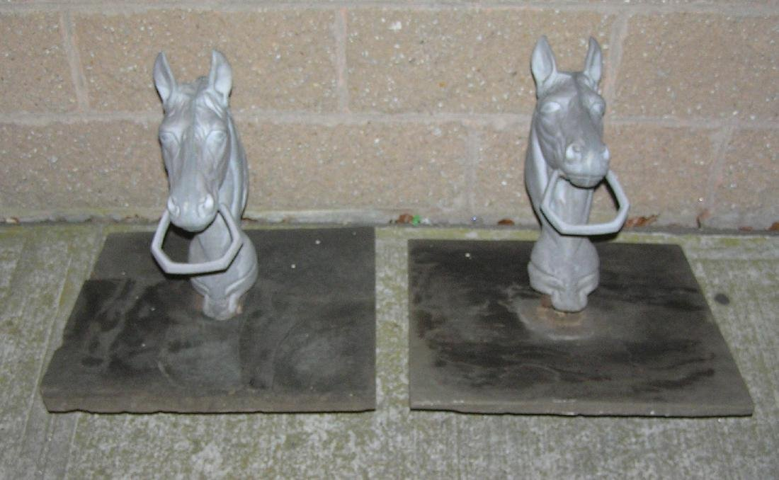 Pair of figural horse head hitching posts
