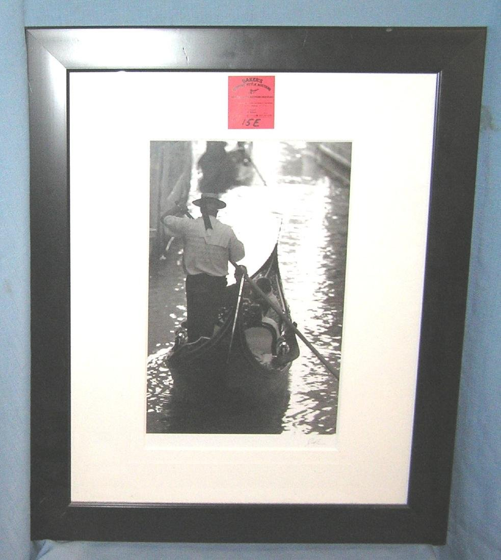 Artist signed photograph of a gondolier with hat