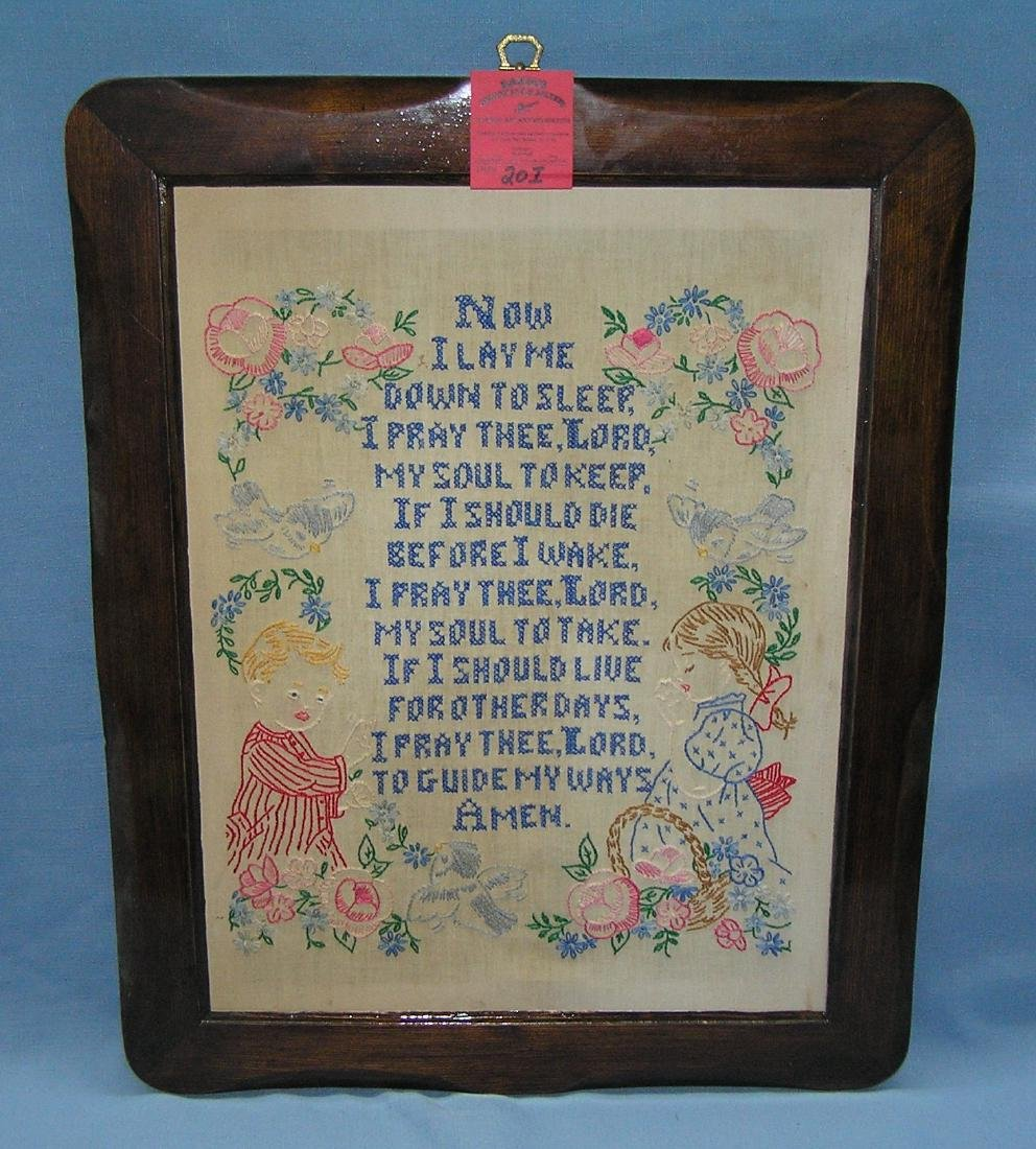 Vintage needle point framed child's prayer