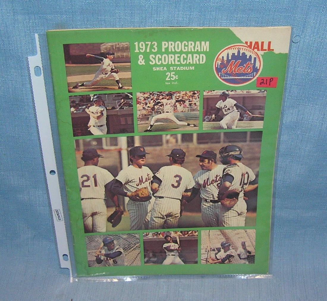 Vintage 1973 NY Mets program and score card