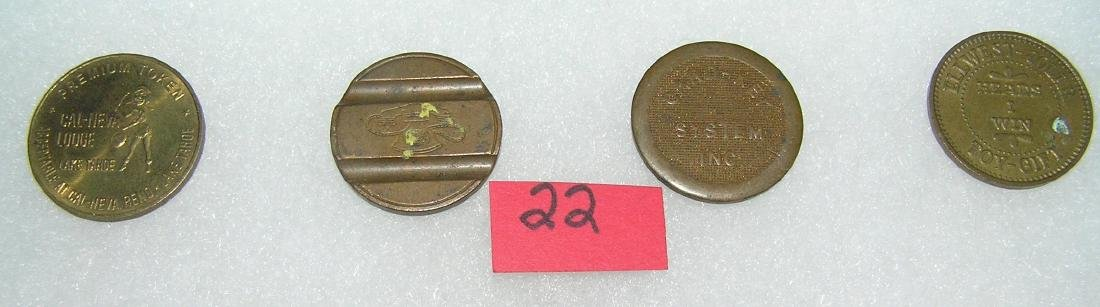 Group of vintage brass tokens