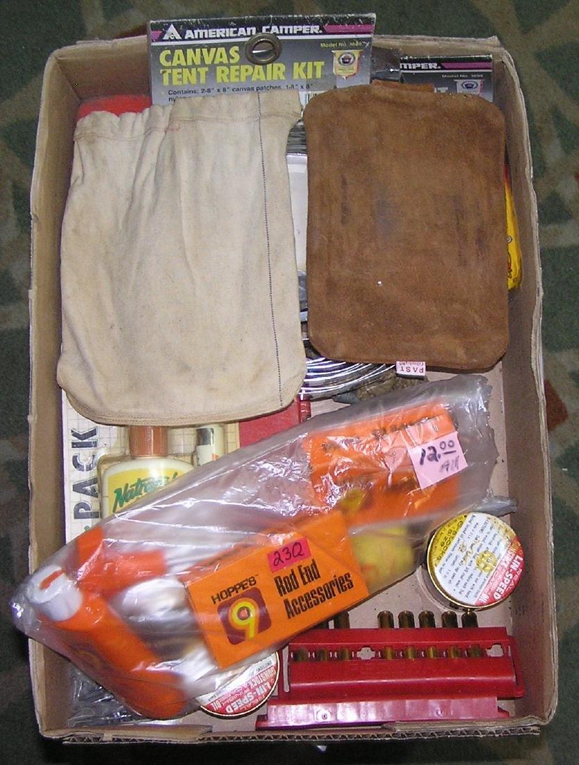 Box of gun and hunting supplies