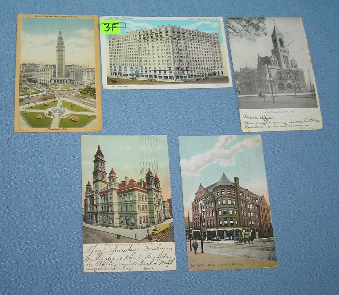 Group of early auto, trolley and horse drawn post cards