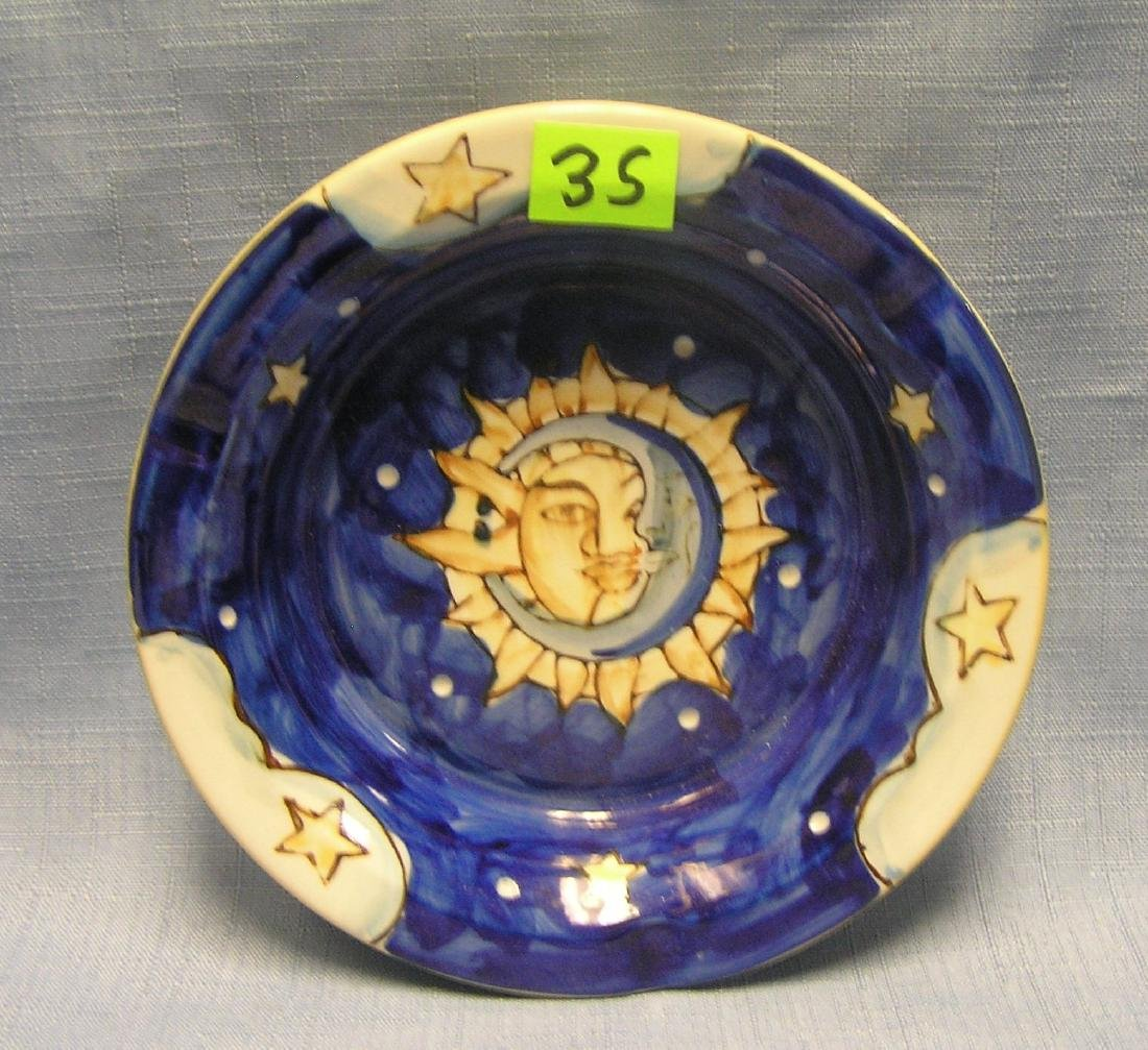 decorative glazed over stoneware ash tray