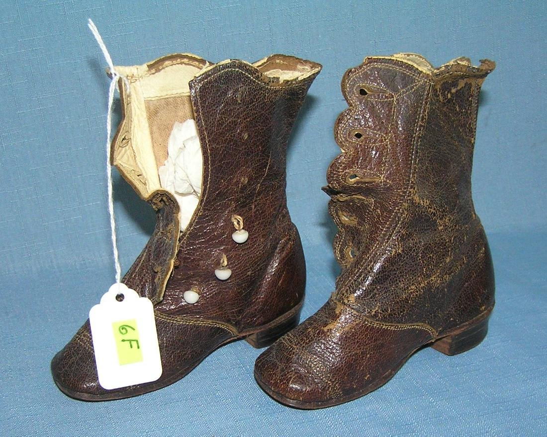 Pair of antique hand made child's shoes