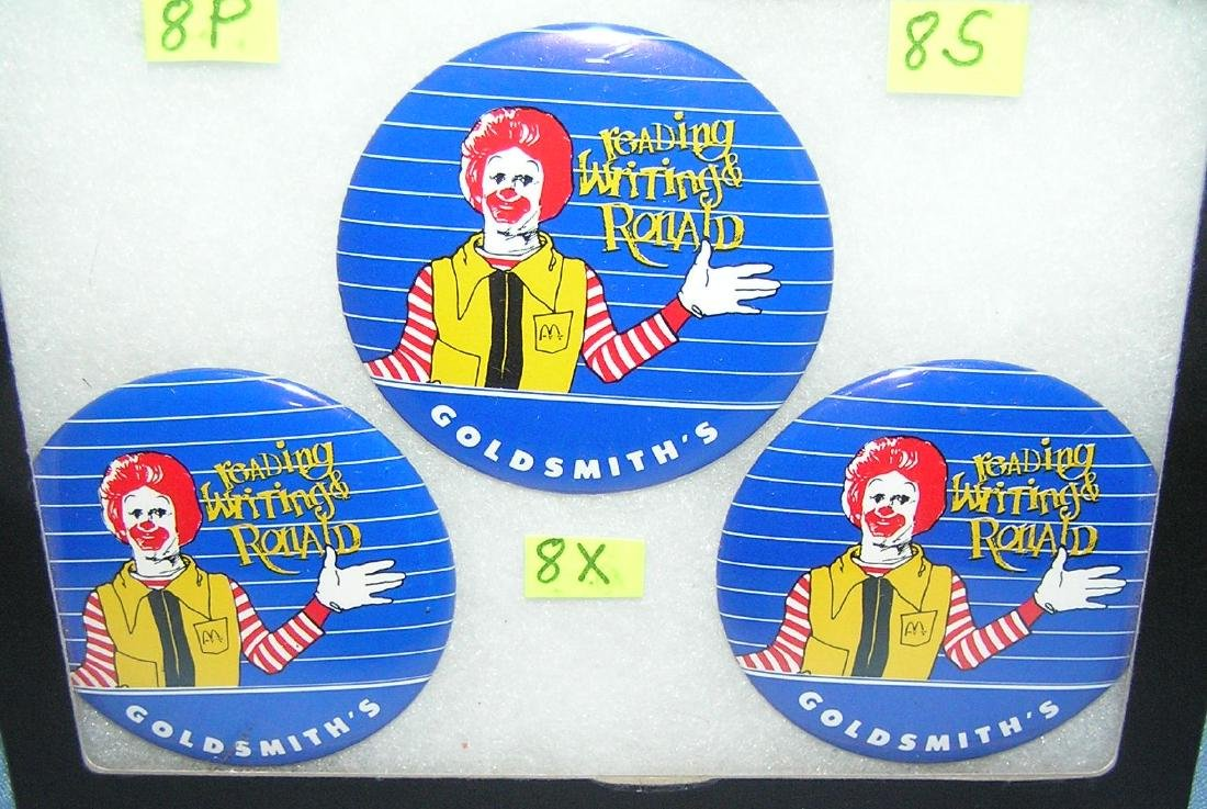 Ronald McDonald pictural advertising pin back buttons