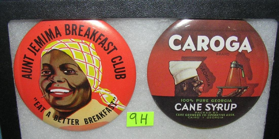 Pair of Black Americana pinback buttons