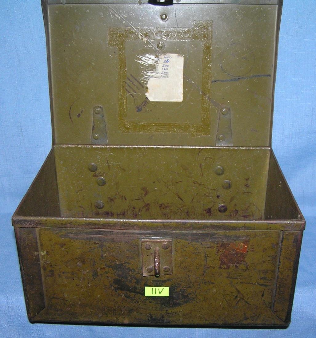 Early military metal locking storage box