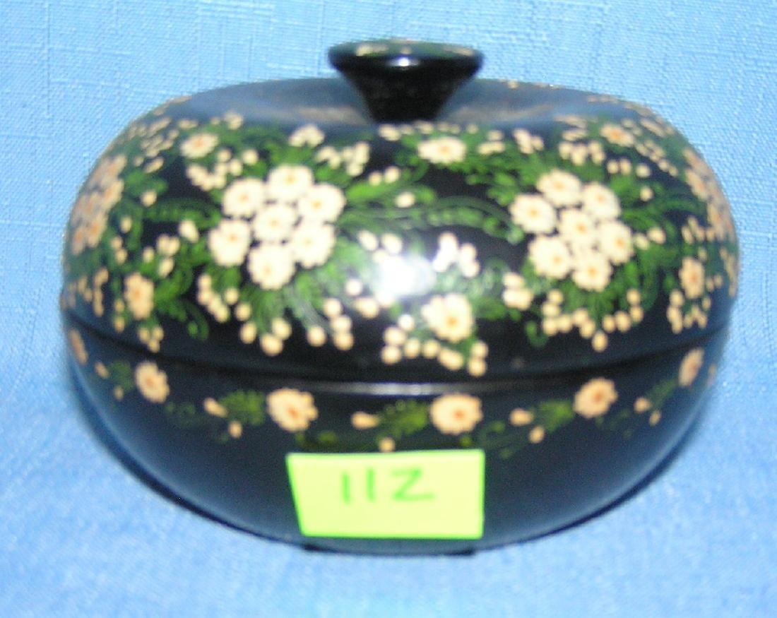 Hand painted floral trinket box