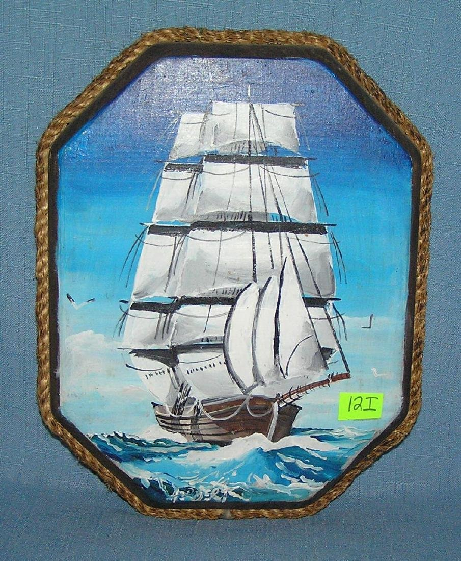 Artist signed Clipper ship painted on board