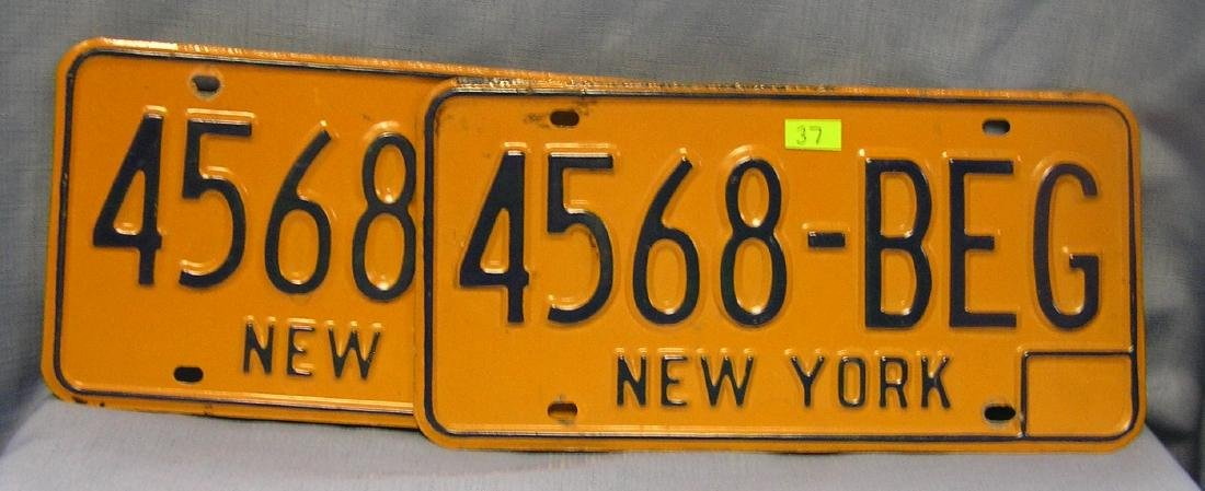 Pair of vintage NY license plates