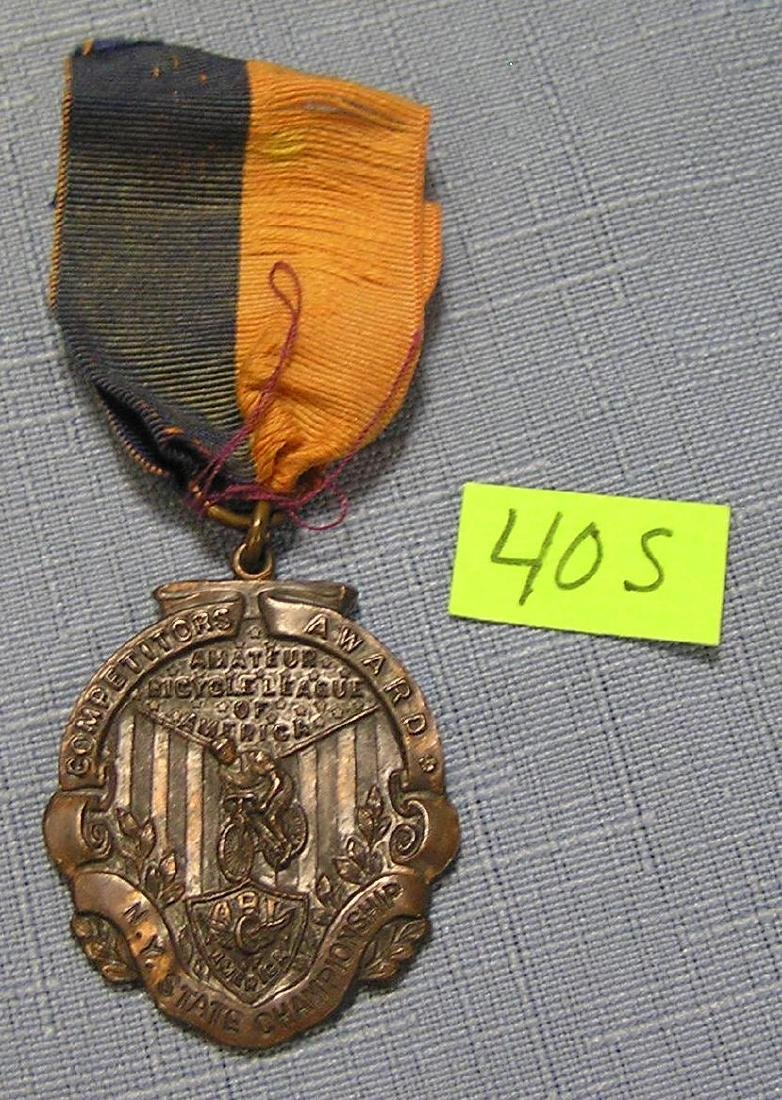 Early NY state bicycle championship medal and ribbon