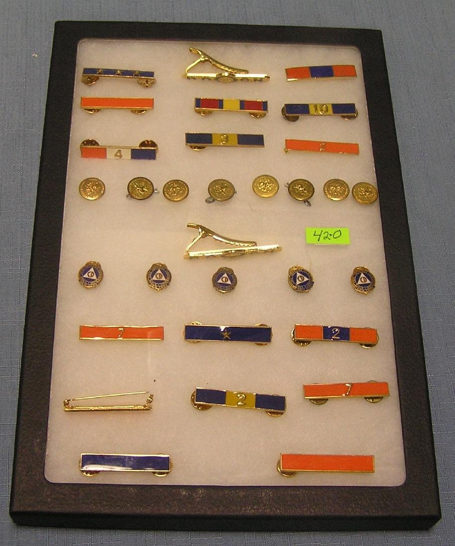 Vint. police buttons, medals, ribbon bars & more