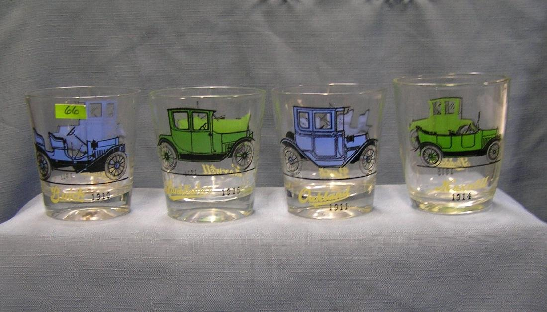 Antique automobile advertising drink glasses