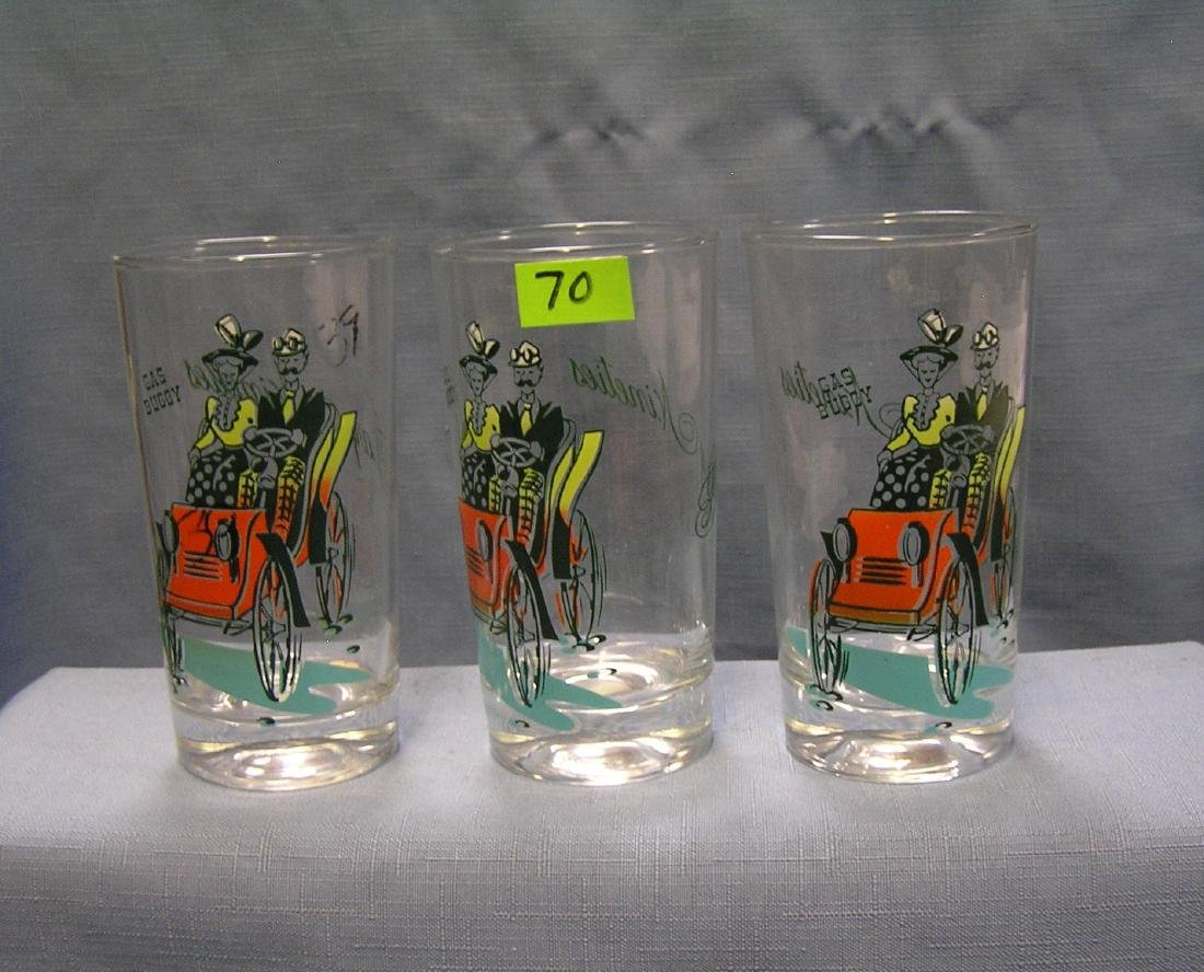 Horseless carriage automobile drinking glasses