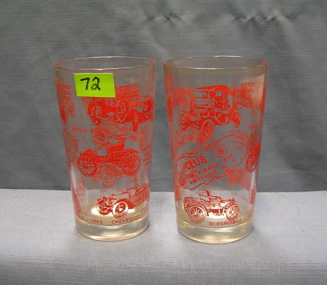 Pair of antique automobile drinking glasses