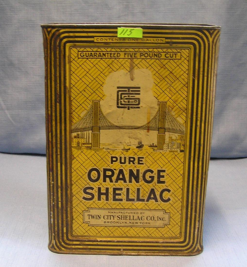 Antique pure orange Shellac advertising tin