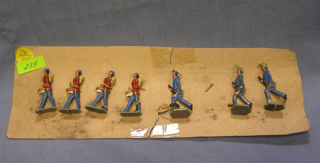 7 piece antique hand painted toy soldier set