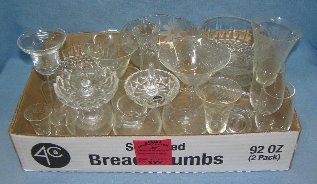 Box full of estate crystal and glassware