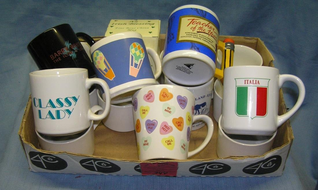 Large box full of coffee mugs