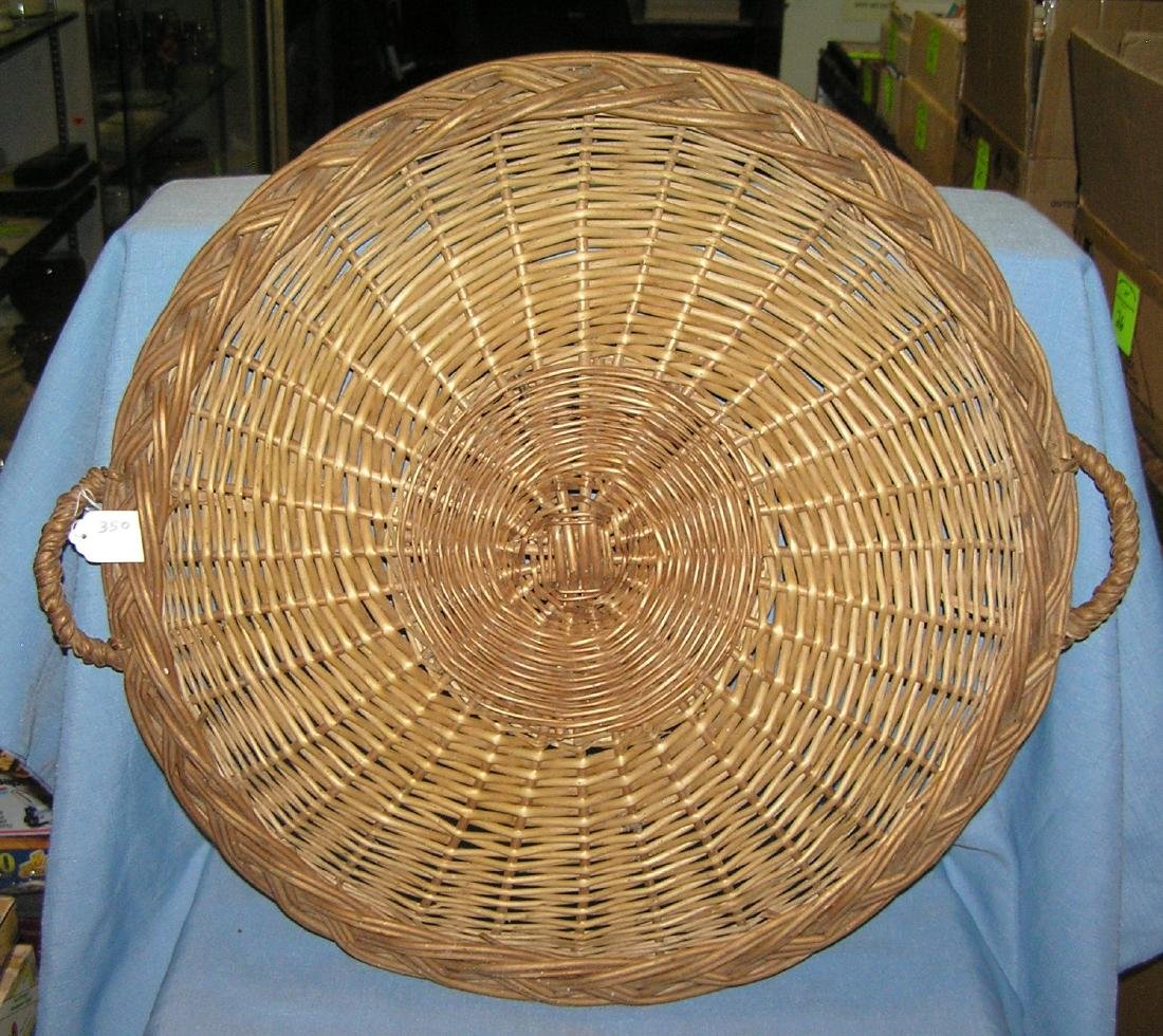 Large 21 inch circular handmade wicker serving platter