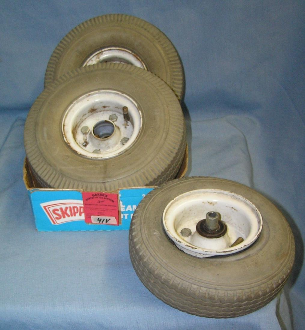 Group of 3 mobile cart and accessory rims and tires