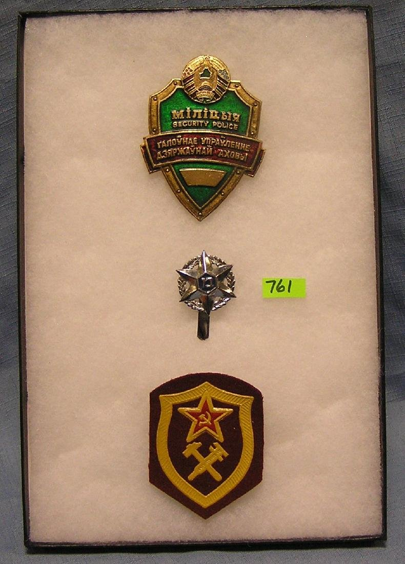 Collection of foreign police badges and patch