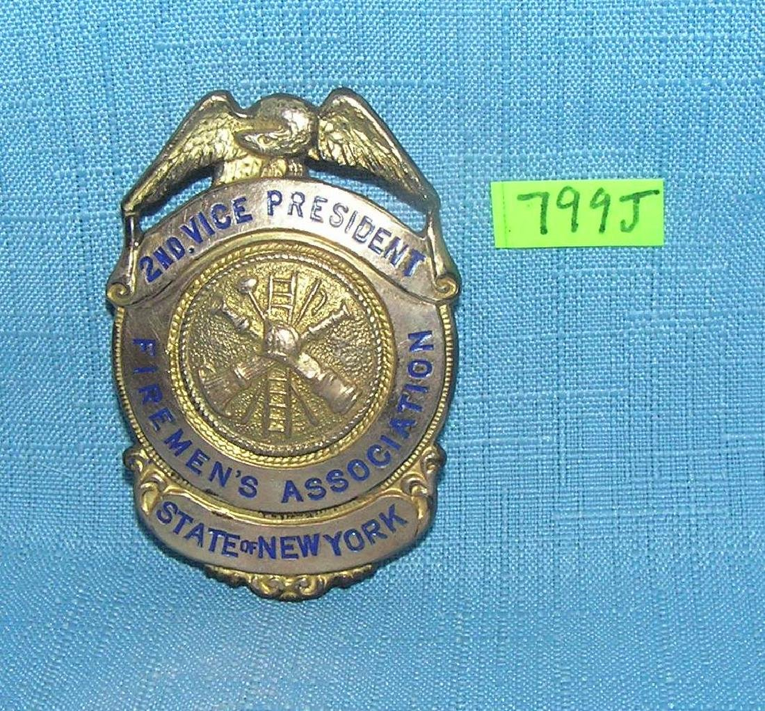 Early State of NY Fireman's gold plated badge