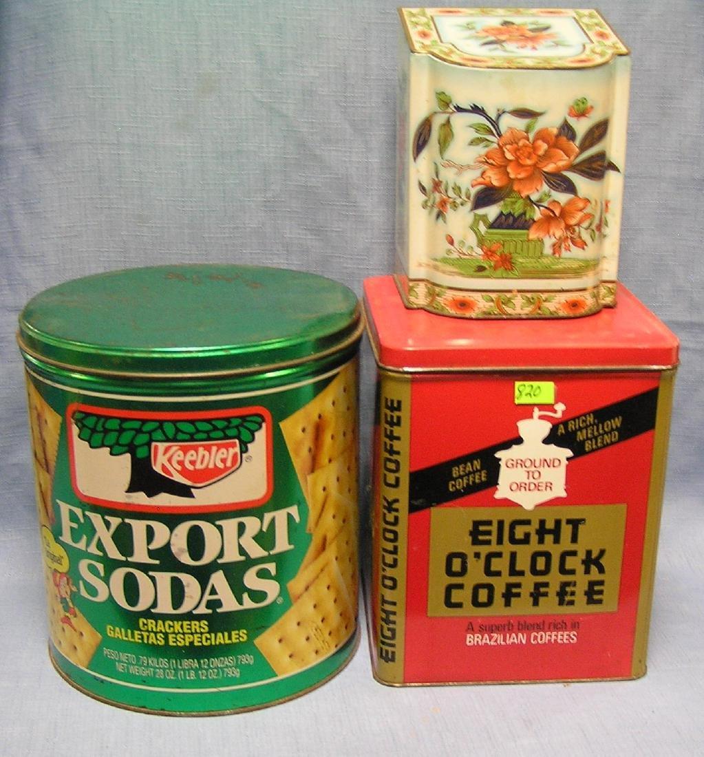 Group of three vintage tins