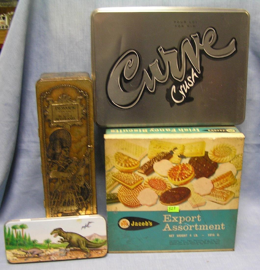 Group of four vintage tin boxes
