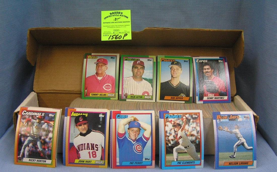 Box full of 1990 Topps Baseball cards