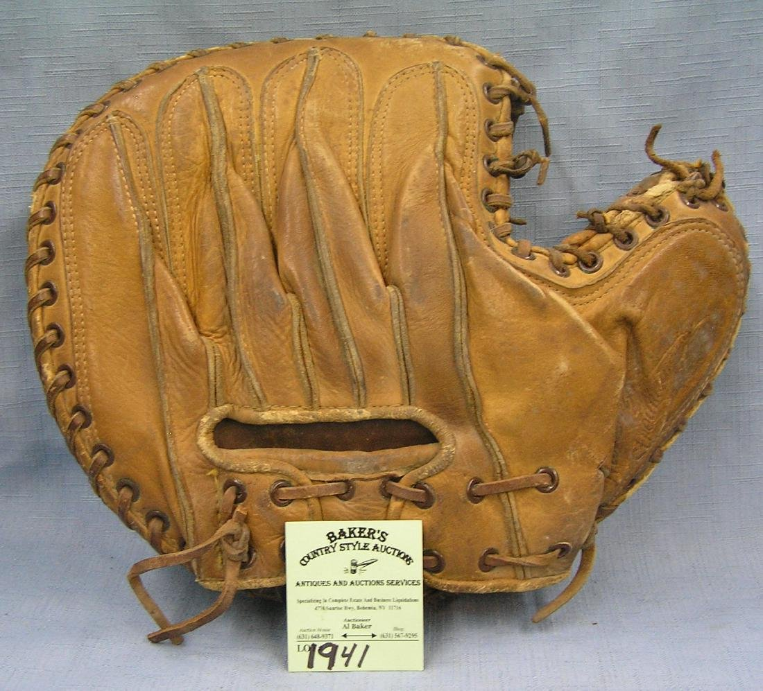 Early leather catcher's mitt by Rawling