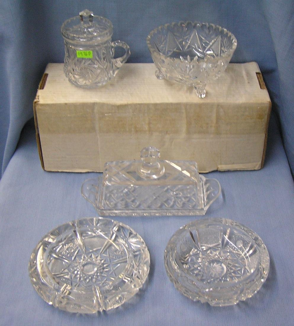 Early hand cut crystal serving pieces