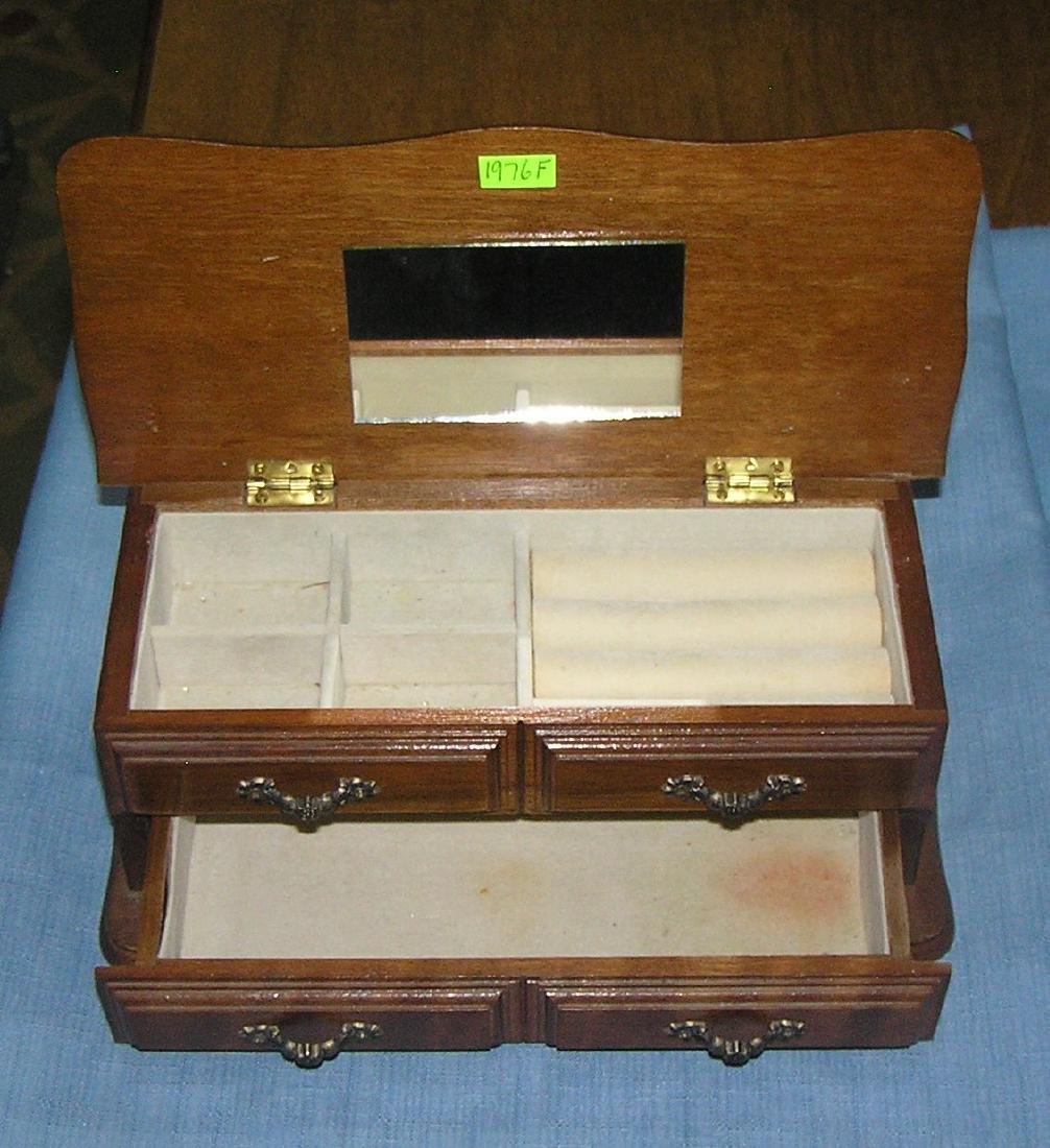 Vintage walnut mirrored jewelry box