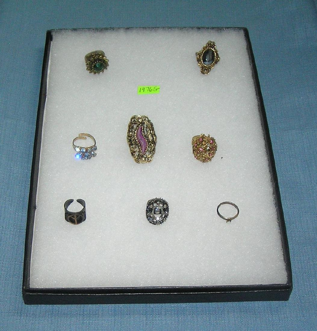 Collection of vintage costume jewelry rings