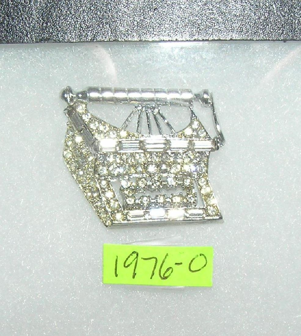 Vintage typewriter pin with semi precious stones