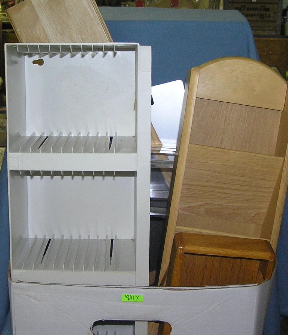 Box full of stationery and office supplies