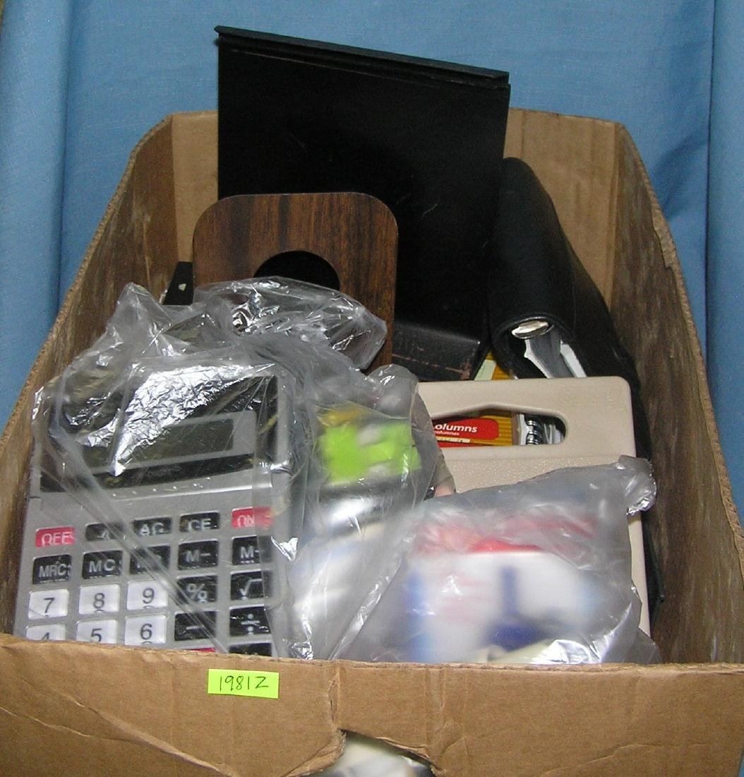 Large box full of estate stationery and supplies