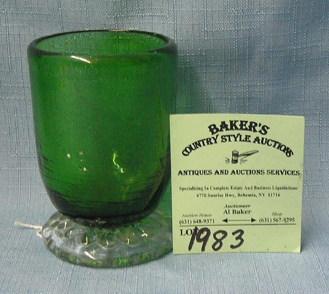Antique two toned green to clear tooth pick holder