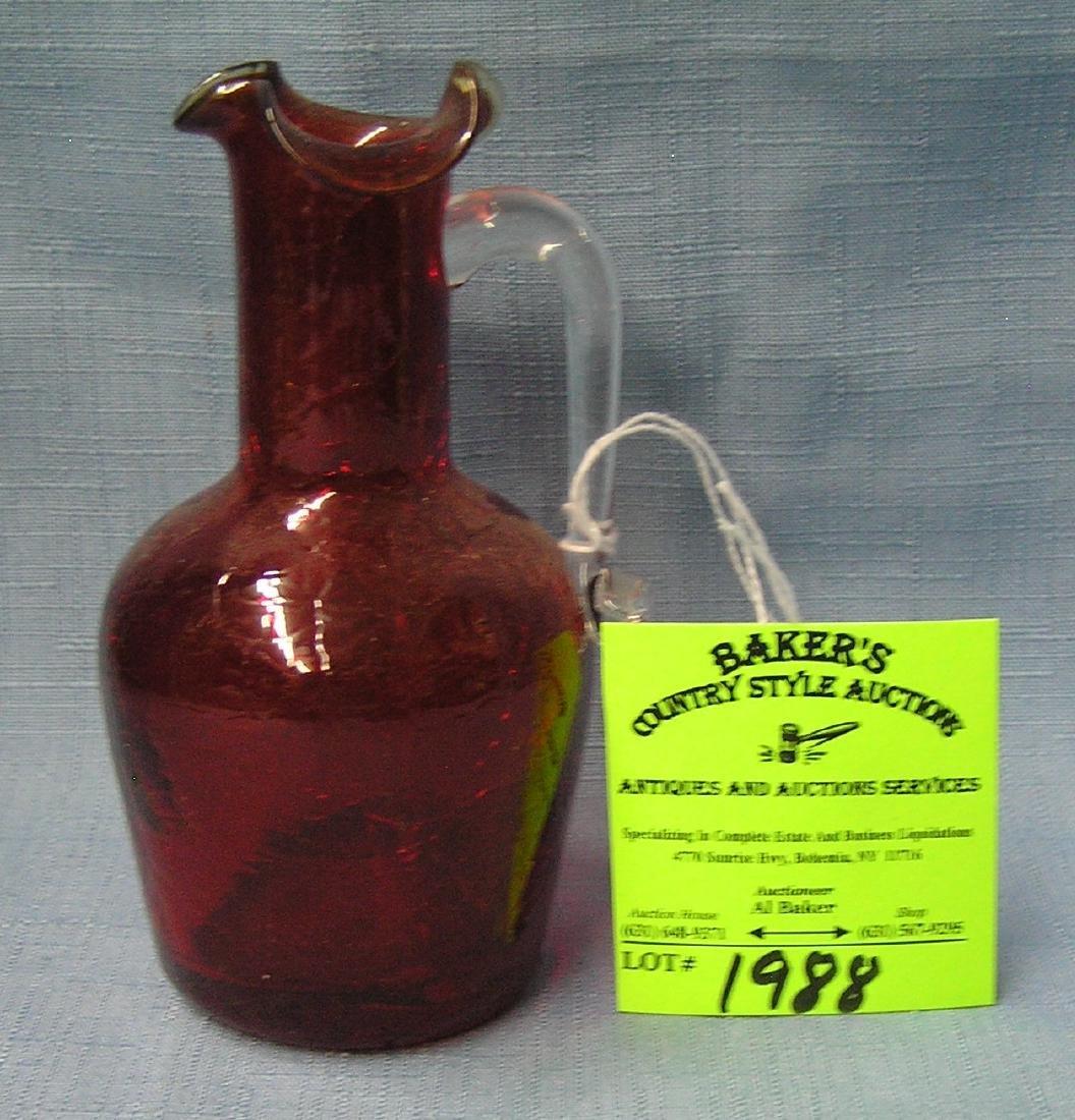 Crackle glass miniature pitcher
