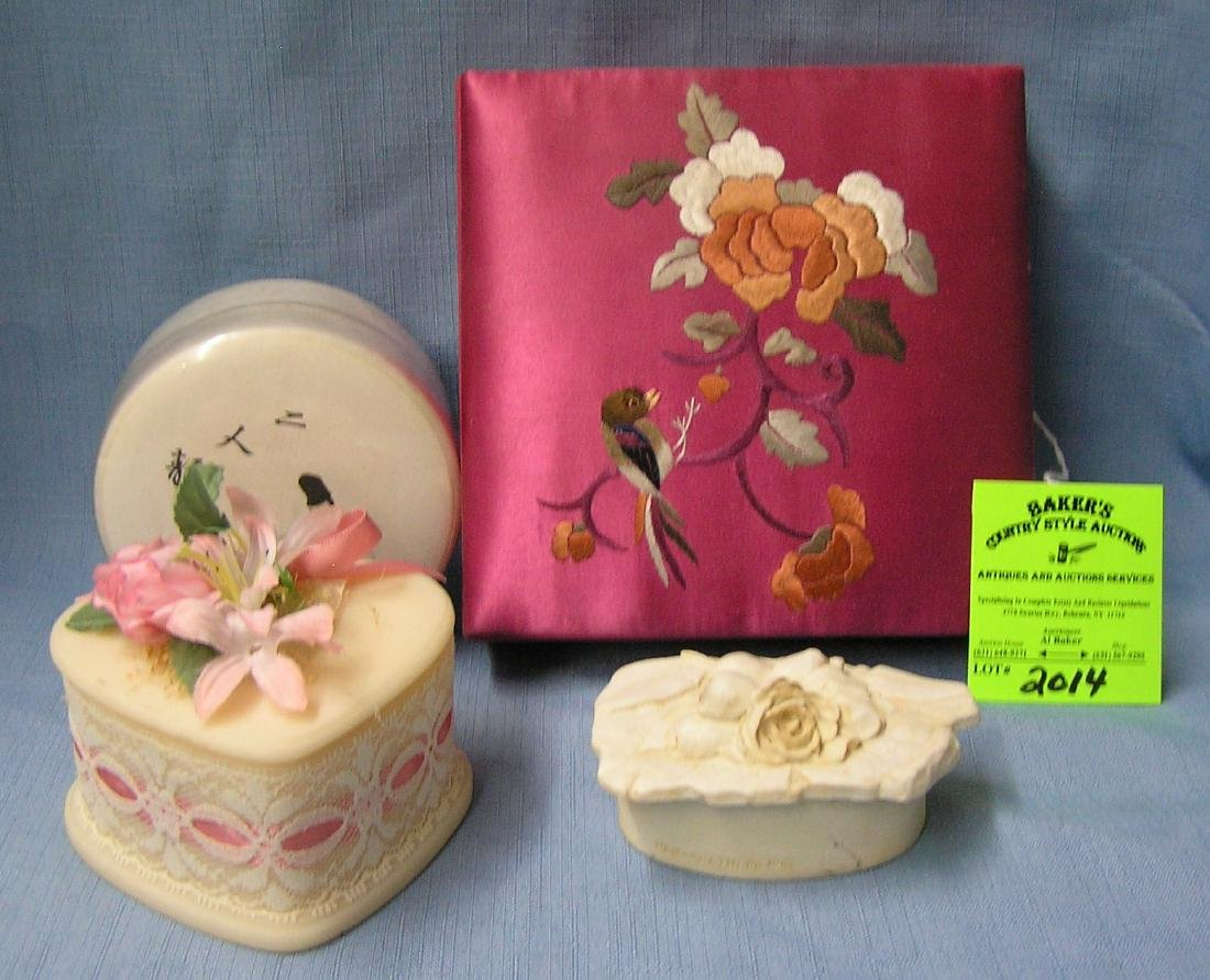 Group of four vintage trinket boxes