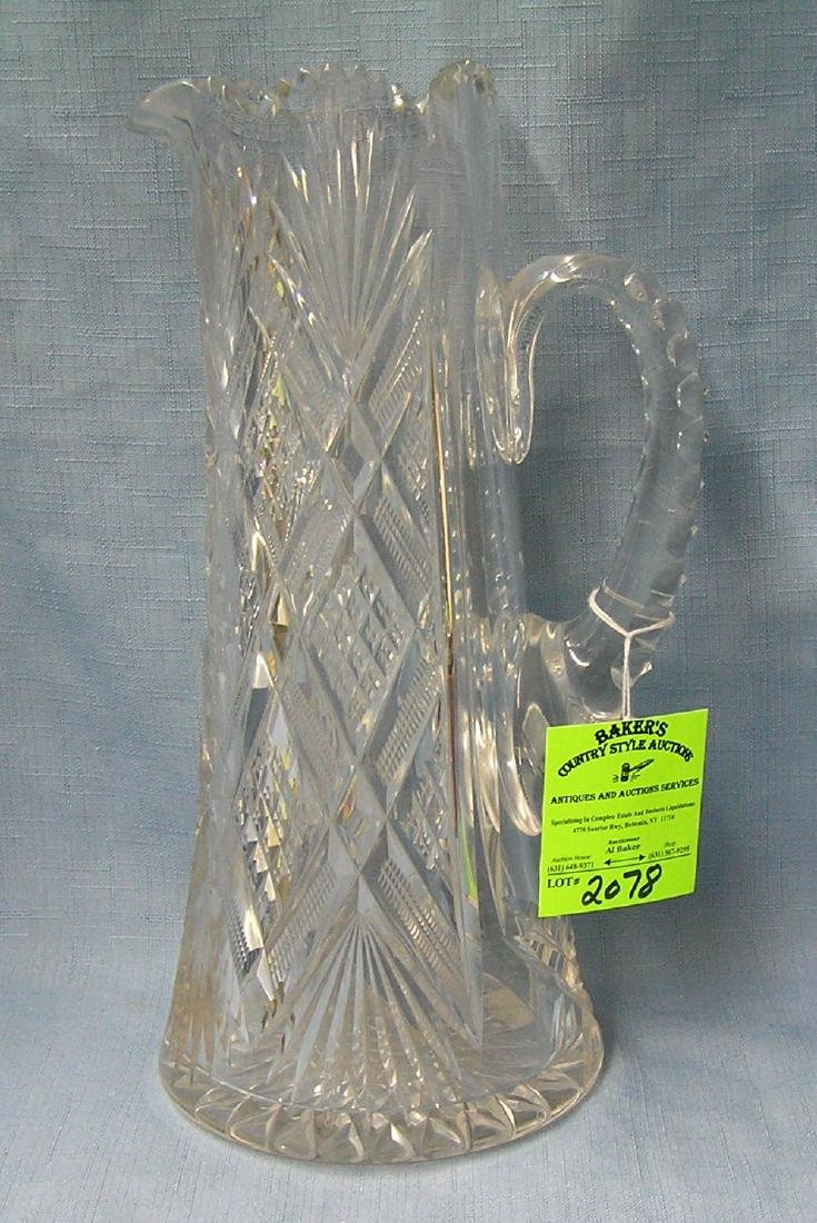 Antique heavy lead crystal pitcher