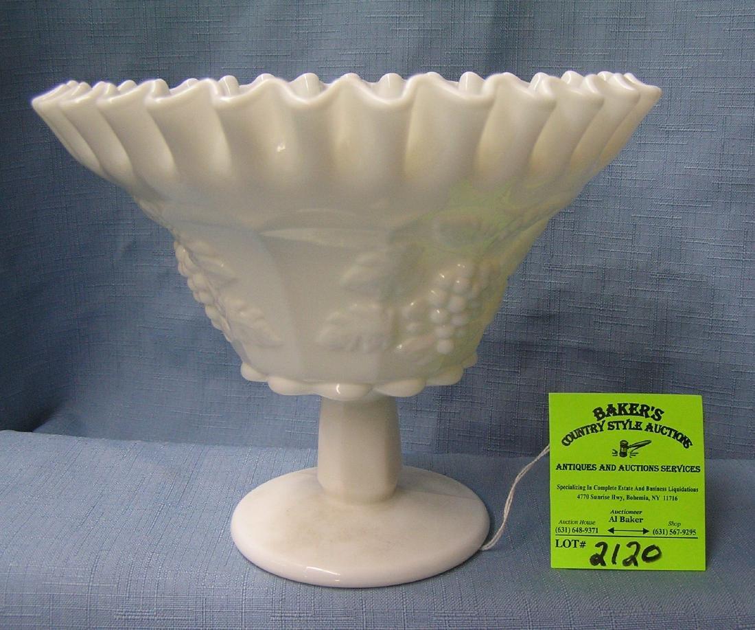 Vintage grape patterned Milk Glass fruit bowl