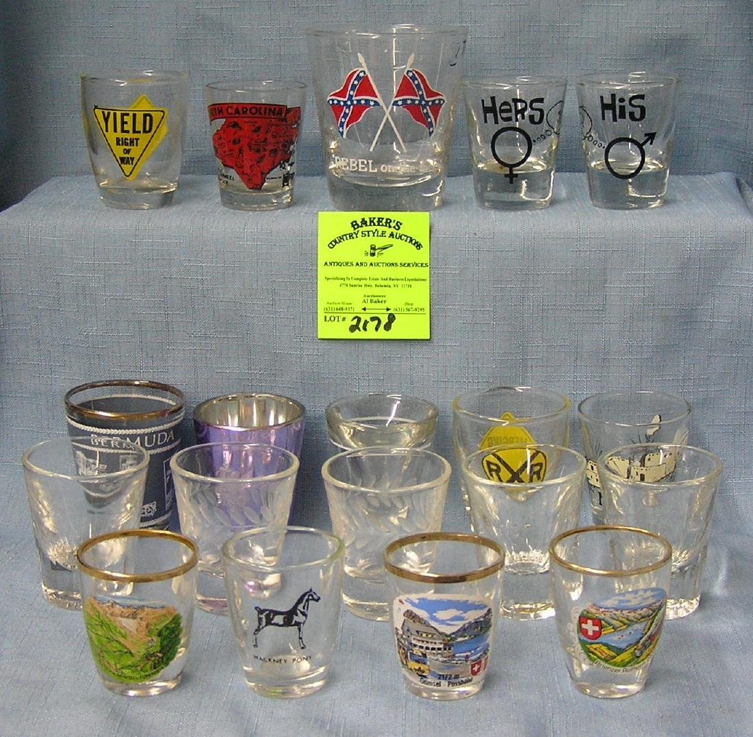 Large collection of vintage shot glasses